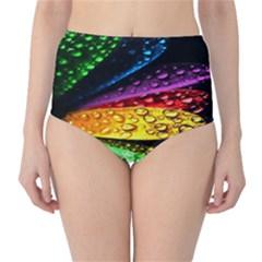Abstract Flower High-Waist Bikini Bottoms