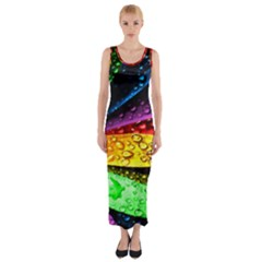 Abstract Flower Fitted Maxi Dress