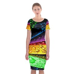 Abstract Flower Classic Short Sleeve Midi Dress