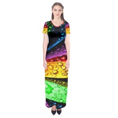Abstract Flower Short Sleeve Maxi Dress