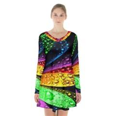 Abstract Flower Long Sleeve Velvet V Neck Dress