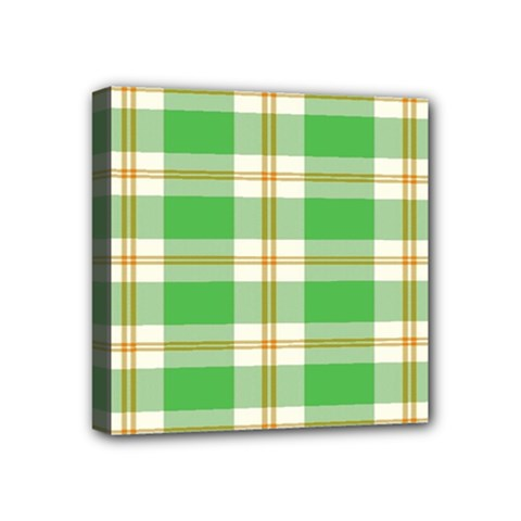 Abstract Green Plaid Mini Canvas 4  x 4