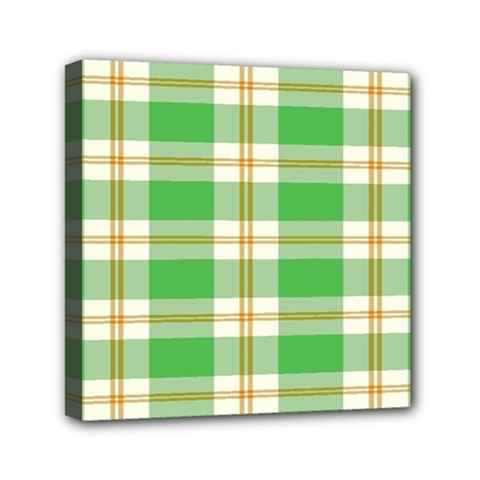 Abstract Green Plaid Mini Canvas 6  X 6