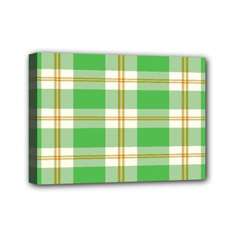 Abstract Green Plaid Mini Canvas 7  x 5
