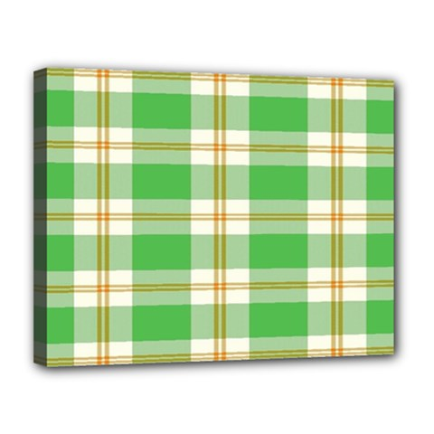 Abstract Green Plaid Canvas 14  x 11