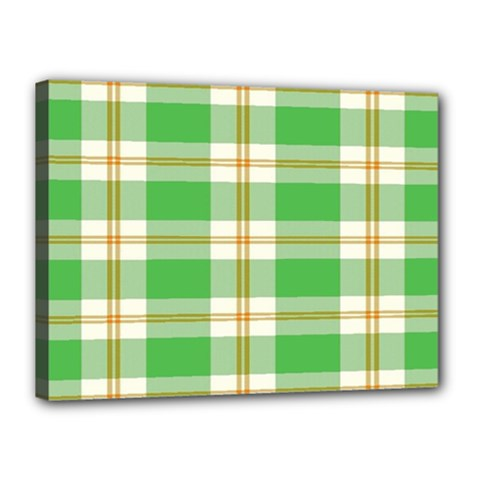 Abstract Green Plaid Canvas 16  X 12