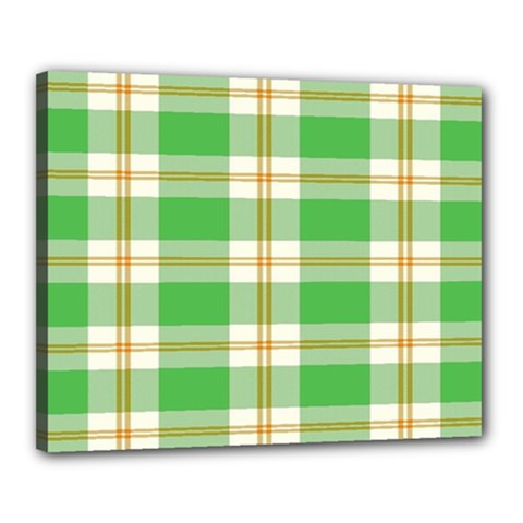 Abstract Green Plaid Canvas 20  x 16