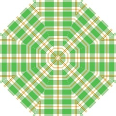 Abstract Green Plaid Folding Umbrellas