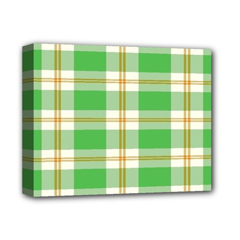 Abstract Green Plaid Deluxe Canvas 14  X 11