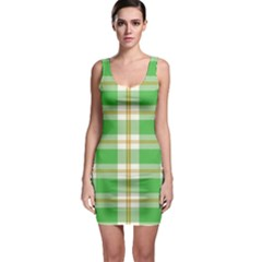 Abstract Green Plaid Sleeveless Bodycon Dress