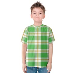 Abstract Green Plaid Kids  Cotton Tee