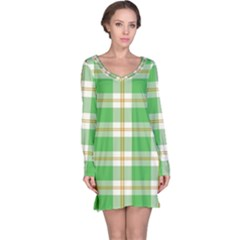 Abstract Green Plaid Long Sleeve Nightdress
