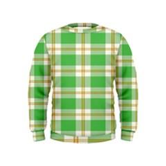 Abstract Green Plaid Kids  Sweatshirt