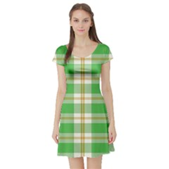 Abstract Green Plaid Short Sleeve Skater Dress