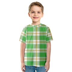 Abstract Green Plaid Kids  Sport Mesh Tee
