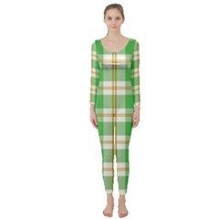 Abstract Green Plaid Long Sleeve Catsuit