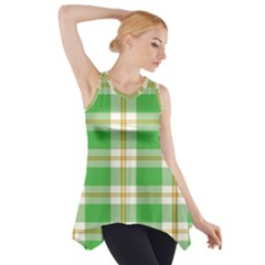 Abstract Green Plaid Side Drop Tank Tunic