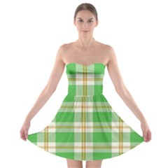 Abstract Green Plaid Strapless Bra Top Dress