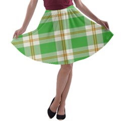 Abstract Green Plaid A Line Skater Skirt