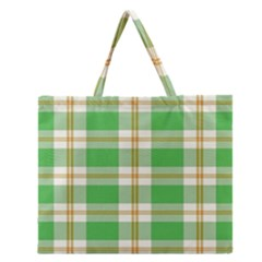 Abstract Green Plaid Zipper Large Tote Bag