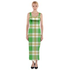 Abstract Green Plaid Fitted Maxi Dress