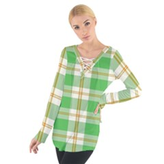 Abstract Green Plaid Women s Tie Up Tee