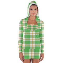 Abstract Green Plaid Women s Long Sleeve Hooded T Shirt
