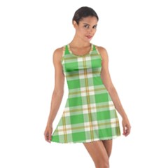 Abstract Green Plaid Cotton Racerback Dress