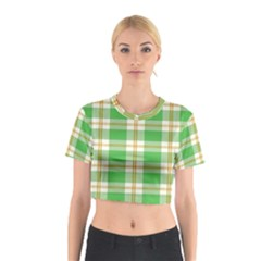 Abstract Green Plaid Cotton Crop Top