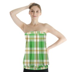 Abstract Green Plaid Strapless Top