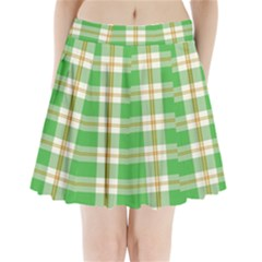 Abstract Green Plaid Pleated Mini Skirt
