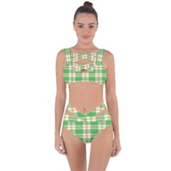 Abstract Green Plaid Bandaged Up Bikini Set