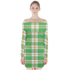 Abstract Green Plaid Long Sleeve Off Shoulder Dress