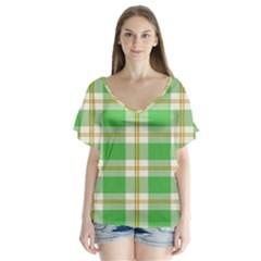 Abstract Green Plaid Flutter Sleeve Top