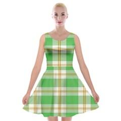Abstract Green Plaid Velvet Skater Dress