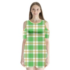 Abstract Green Plaid Shoulder Cutout Velvet  One Piece