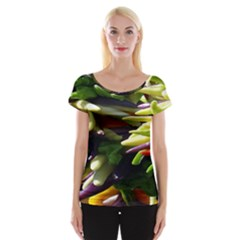 Bright Peppers Cap Sleeve Tops