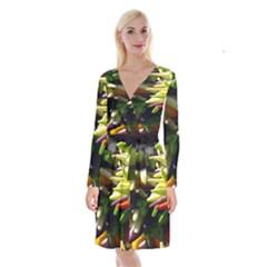 Bright Peppers Long Sleeve Velvet Front Wrap Dress