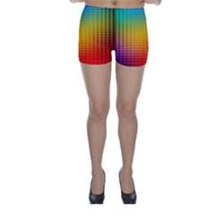 Blurred Color Pixels Skinny Shorts