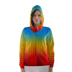 Blurred Color Pixels Hooded Wind Breaker (Women)