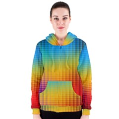 Blurred Color Pixels Women s Zipper Hoodie