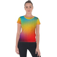 Blurred Color Pixels Short Sleeve Sports Top