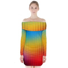 Blurred Color Pixels Long Sleeve Off Shoulder Dress