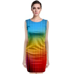Blurred Color Pixels Sleeveless Velvet Midi Dress