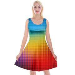 Blurred Color Pixels Reversible Velvet Sleeveless Dress