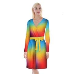 Blurred Color Pixels Long Sleeve Velvet Front Wrap Dress