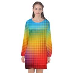 Blurred Color Pixels Long Sleeve Chiffon Shift Dress