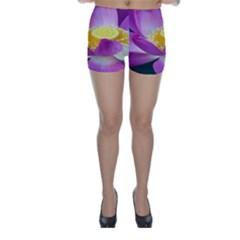 Pink Lotus Flower Skinny Shorts