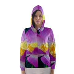 Pink Lotus Flower Hooded Wind Breaker (Women)