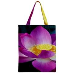 Pink Lotus Flower Zipper Classic Tote Bag